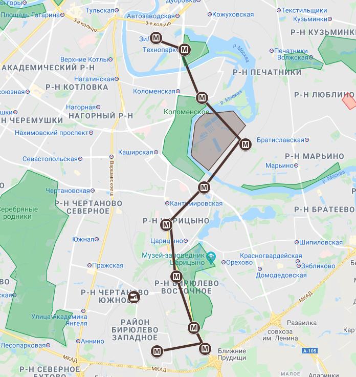Бирюлевская линия метро на карте